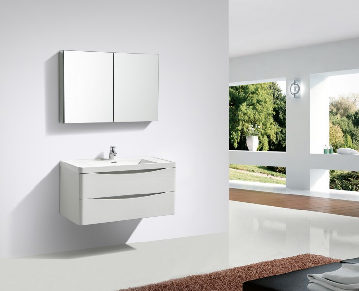 Smile 1000 Wall-hung bathroom furniture, white lily - mirror, mirror cabinet and wall cabinet optional – Bild 1