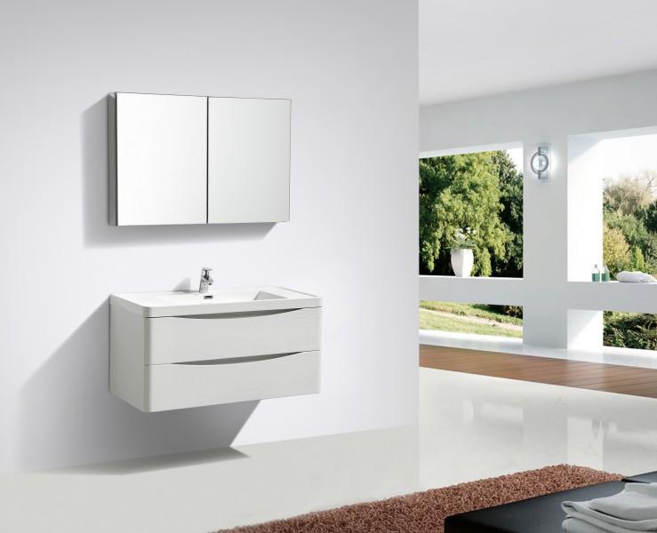 Meubles de salle de bain à suspendre Smile 1000 blanc lys - miroir, armoire de toilette et meuble mural en option