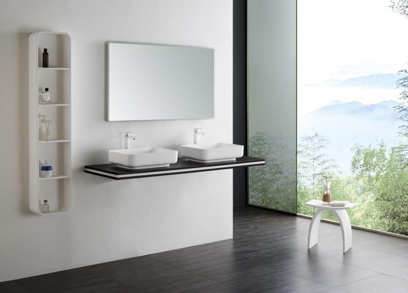 Waschtischplatte Counterboard SMART-Line in Wenge - Breite & Halterung wählbar