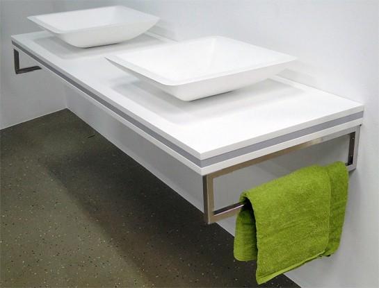 Tablette pour lavabo à poser en MDF - SMART-Line - blanc mat - largeur sélectionnable - support de fixation en option – Bild 9