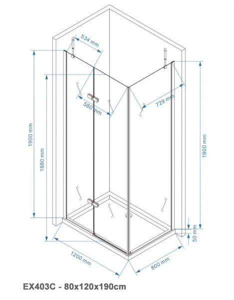 Duschkabine Eckdusche EX403C 6mm NANO Echtglas - 80x120x190cm  – Bild 6