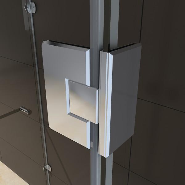 Duschkabine U-Form EX412 Milchglas-Streifen - 90x90x195cm – Bild 4