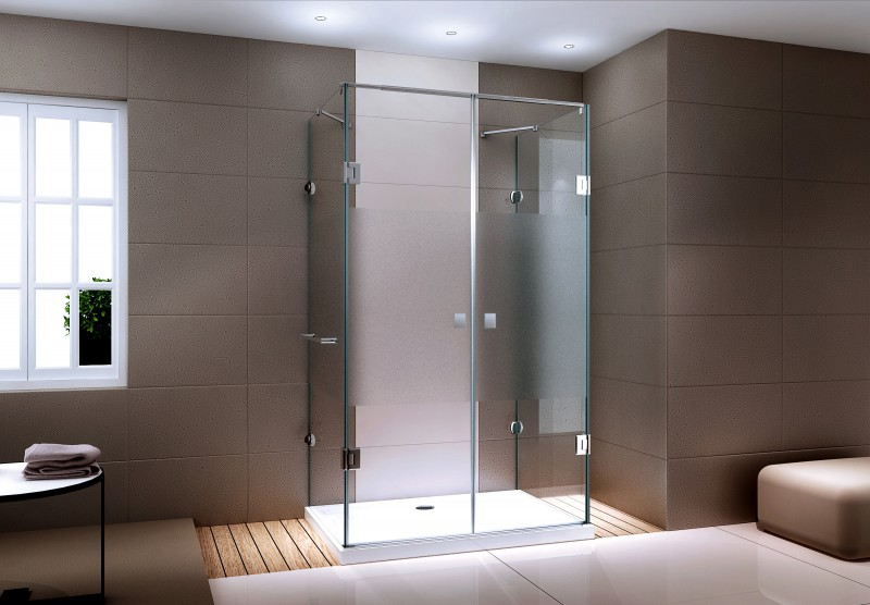 Shower cabin U-shape EX412 - frosted glass stripe - 8mm tempered glass - 120 x 90 x 195cm – Bild 1