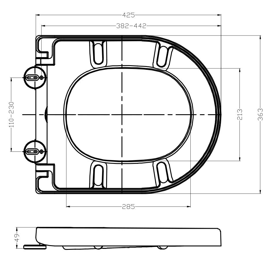 WC-Deckel Softclose WC-Sitz Ersatzdeckel U1009 - passend für BERNSTEIN WC NT2038 – Bild 7
