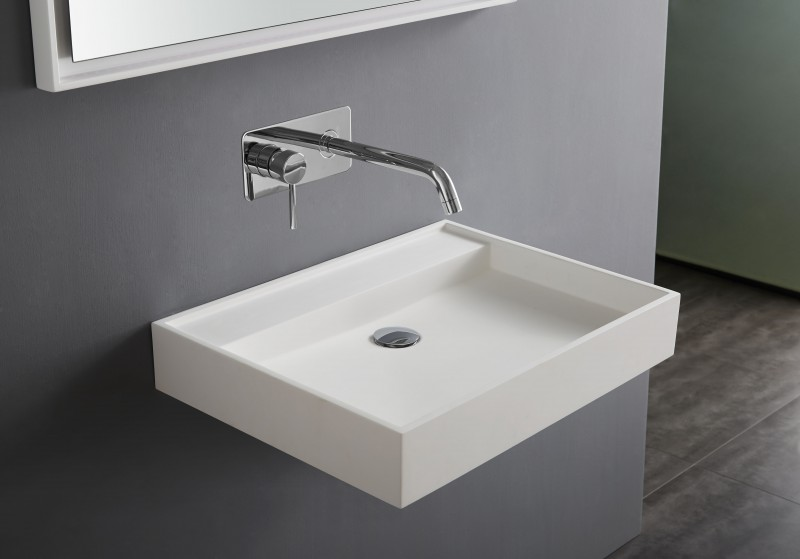 Lavabo suspendu  , rectangle, PB2086W, en pierre solide (pierre artificielle) - 60x45x10cm – Bild 1