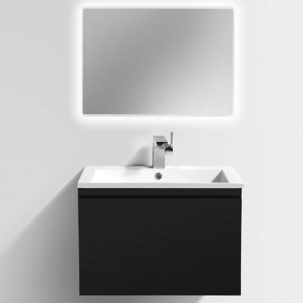 Badmöbel-Set Y600 Schwarz Hochglanz - Badspiegel optional wählbar – Bild 2