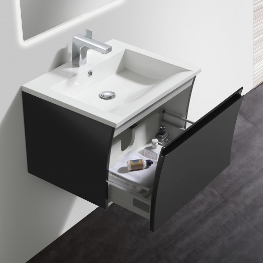 Bathroom Furniture Set Y600 - glossy black - mirrors and mirror cabinets available as optional items – Bild 1
