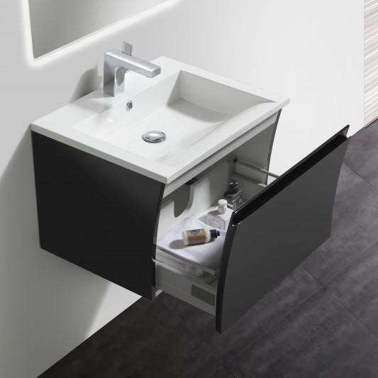 Badmöbel-Set Y600 Schwarz Hochglanz - Badspiegel optional wählbar – Bild 1
