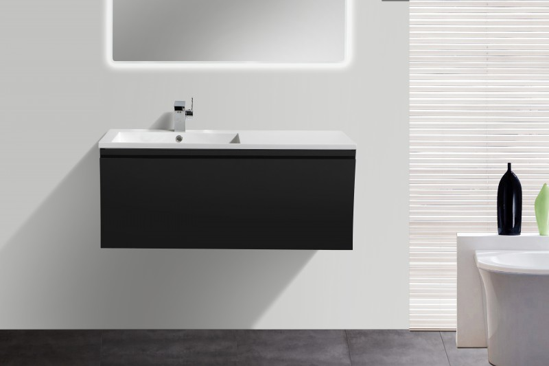 Bathroom Furniture Set Y1000 - glossy black - Mirrors and Mirror cabinets available as optional items – Bild 1