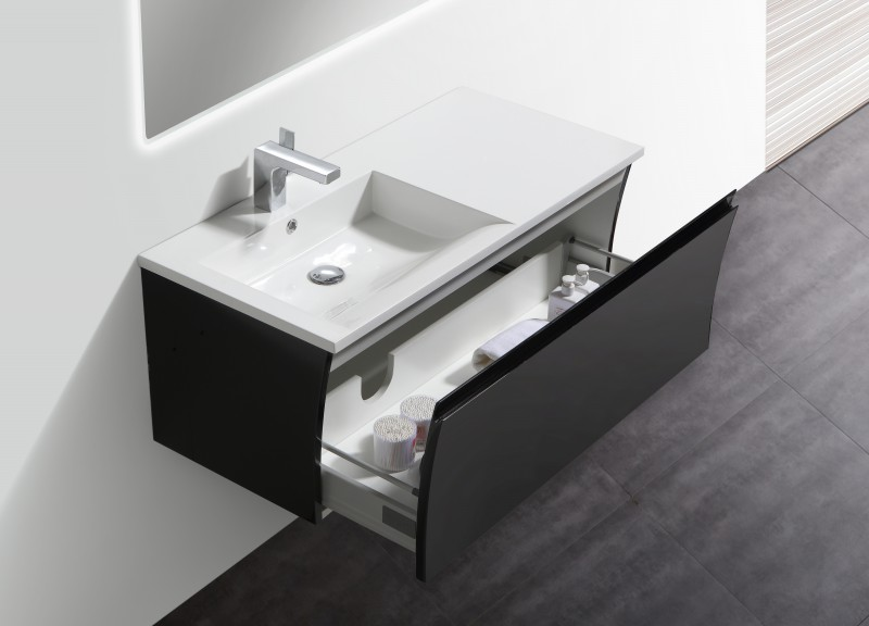 Bathroom Furniture Set Y1000 - glossy black - Mirrors and Mirror cabinets available as optional items – Bild 3