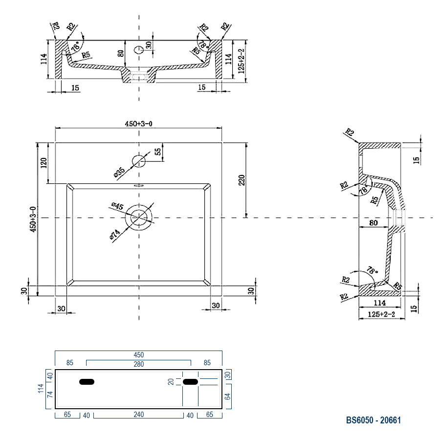 Wandwaschbecken Aufsatzwaschbecken BS6050 45 x 45 x 12,5cm – Bild 5