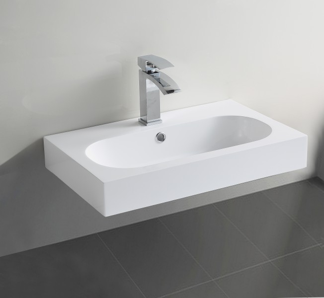 Wall hung wash basin BS6051 - glossy white - 59 x 37 x 14,5cm - cast marble – Bild 2
