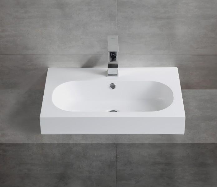 Wall hung wash basin BS6051 - glossy white - 59 x 37 x 14,5cm - cast marble – Bild 3