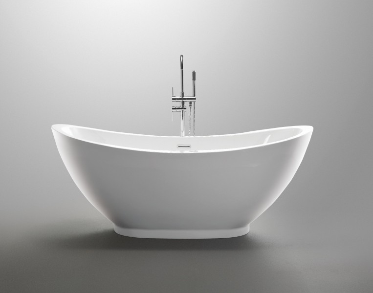 Freestanding Bathtub VALENZIA - 175 x 85cm - white - taps (optional) – Bild 2