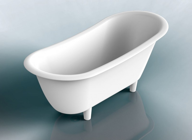 Freestanding Bathtub PURE white - made of mineral cast (solid stone) - 180 x 85 cm – Bild 3