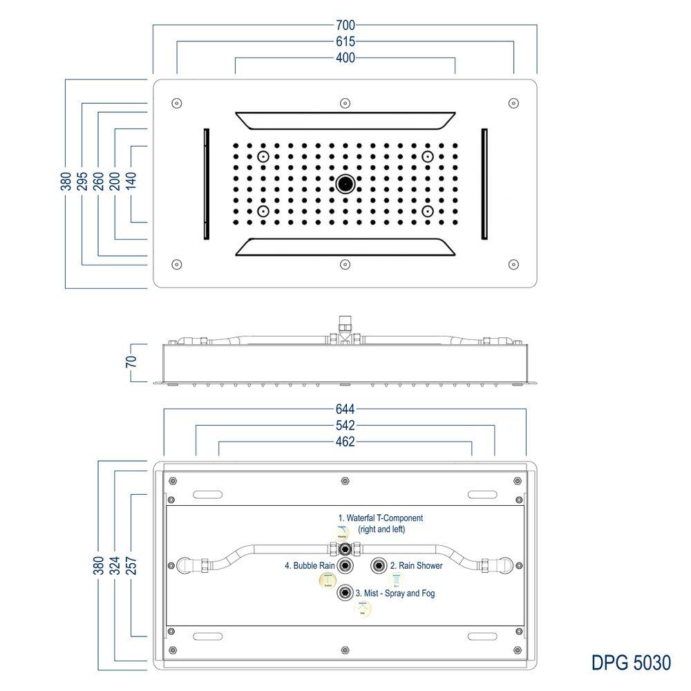 XXL-Regendusche Edelstahl-Deckenbrause DPG5030 superflach - 70 x 38 cm - Deckeneinbau – Bild 6