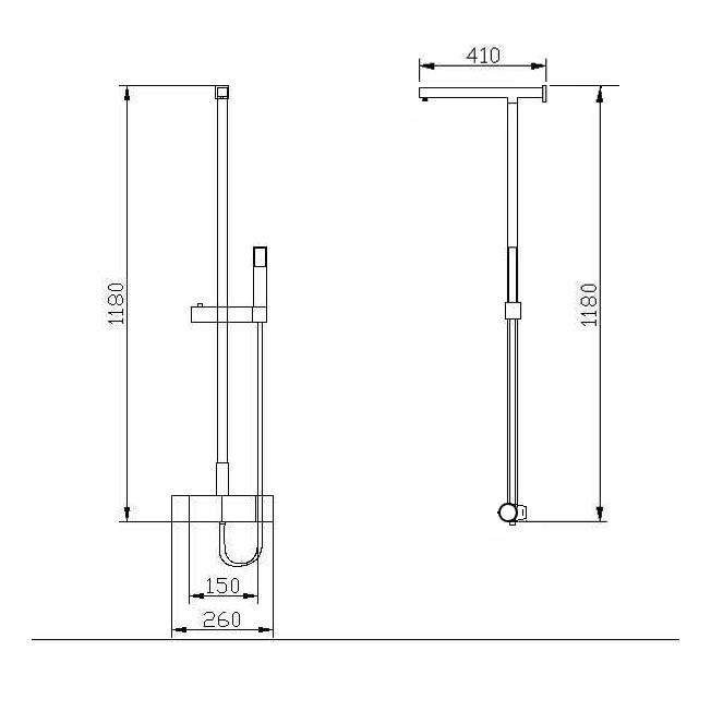 Design-Duschsystem Duschsäule Thermostat 8821C Basic - Auswahl Duschkopf eckig – Bild 6