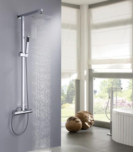 Design-Duschsystem Duschsäule Thermostat 8821C Basic - Auswahl Duschkopf eckig – Bild 1