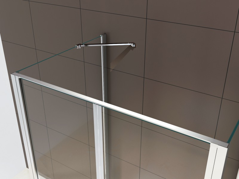 Shower enclosure U-shaped EX416-3 - swing door - safety glass ESG - 100 x 100 x 195 cm – Bild 3