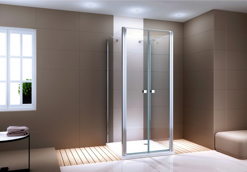 Shower enclosure U-shaped EX416-3 - swing door - safety glass ESG - 100 x 100 x 195 cm – Bild 1