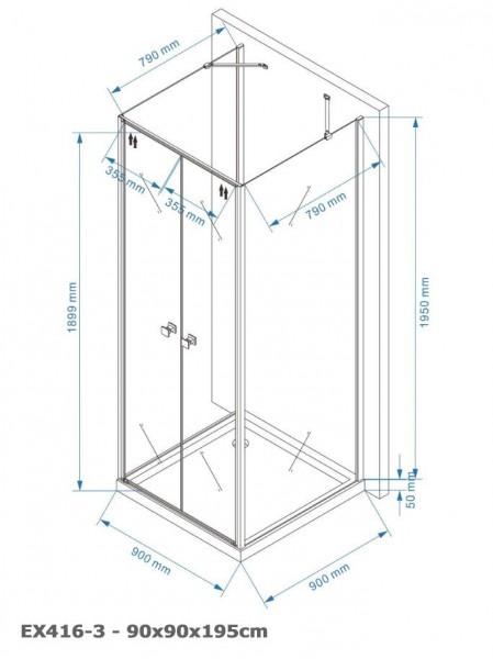 Duschkabine U-Form EX416-3 Echtglas - 90x90x195cm – Bild 6