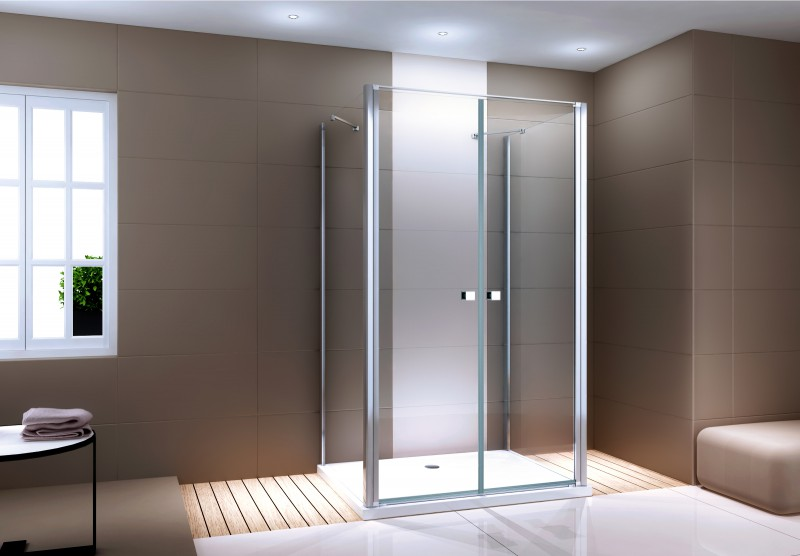Shower enclosure U-shaped EX416-3 - swing door - safety glass ESG - 120 x 80 x 195 cm – Bild 1