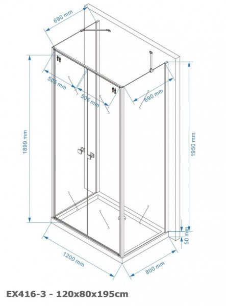 Shower enclosure U-shaped EX416-3 - swing door - safety glass ESG - 120 x 80 x 195 cm – Bild 6