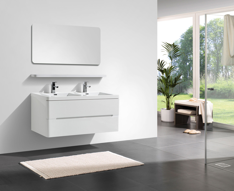 Mobile da bagno happy 1200 bianco lucido mensola sospesa e