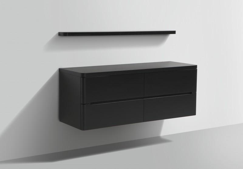 Ensemble de salle de bain Happy 1400 - noir mat - étagère et miroir en option – Bild 3