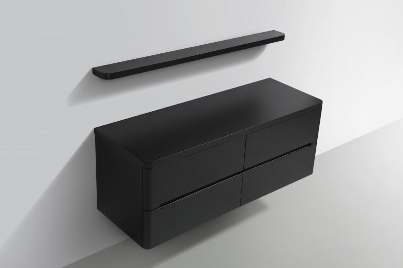 Ensemble de salle de bain Happy 1400 - noir mat - étagère et miroir en option – Bild 5