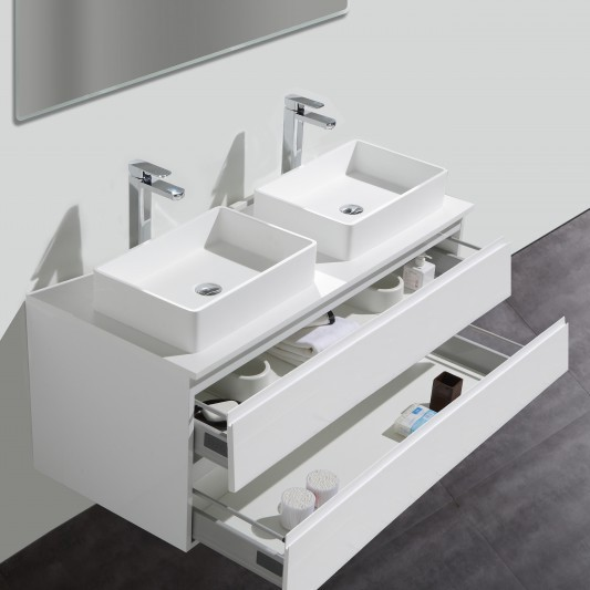 Badmöbel-Set LUXX 1440 Weiß - Mit zwei Schubladen - Badspiegel optional wählbar – Bild 2