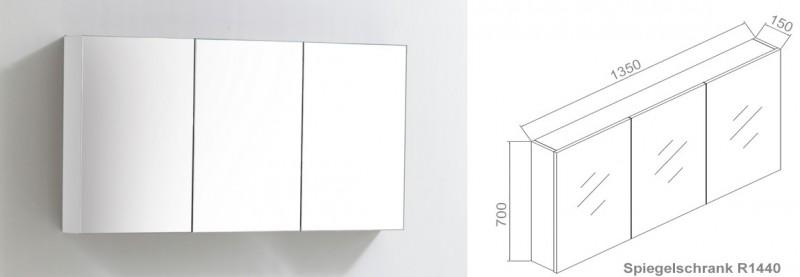 Badmöbel-Set LUXX 1440 Weiß - Mit zwei Schubladen - Badspiegel optional wählbar – Bild 6