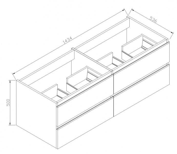 Ensemble de salle de bain  DELIA 1440 noyer foncé - nombre de tiroir & miroir en option – Bild 9