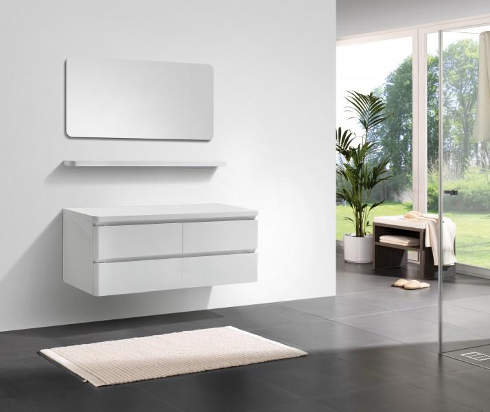 Badmöbel Serie SWING 1400 Weiß Hochglanz – Bild 1