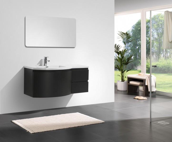Mobile da bagno LAURANCE 1200, nero opaco - armadietto a specchio e ...