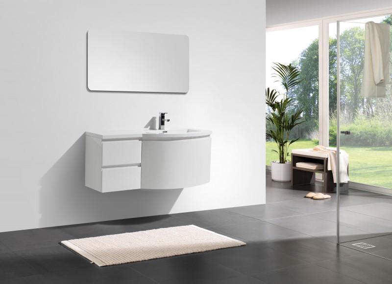 Mobile da bagno LAURANCE 1200, bianco lucido - armadietto e specchio ...