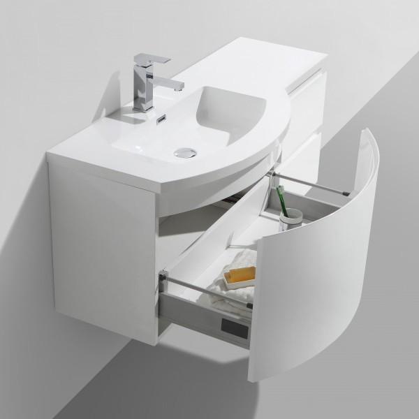Badmöbel Set LAURANCE 1200 Weiß Hochglanz - geschwungene Form – Bild 3