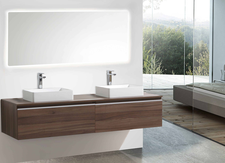 Mobile da bagno delia noce con piastra d appoggio specchio
