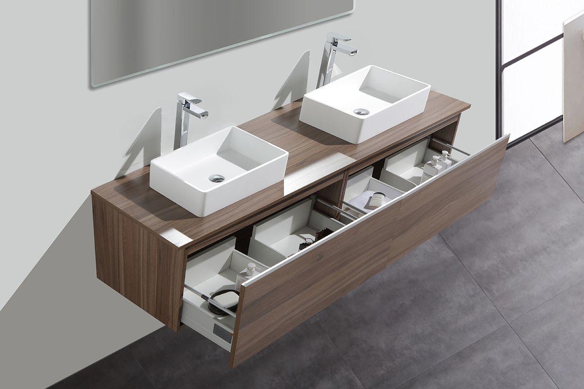 Badmöbel-Set DELIA 2000 Walnuss - mit Waschtischplatte in Walnuss – Bild 3
