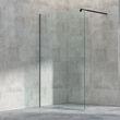 Duschabtrennung Walk-In Dusche EX101 Schwarz - 8mm Klarglas Nano - Breite wählbar