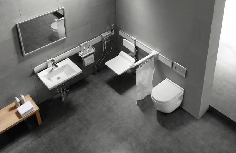Duschklappsitz Duschsitz NT415 mit Rückenlehne - Sitz und Rückenlehne höhenverstellbar – Bild 2