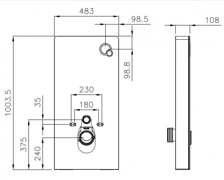 Sanitärmodul 805 für Wand-WC - Weiß - Inkl. Betätigungsplatte – Bild 8
