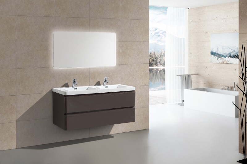 Ensemble de salle de bain SWING 1200, taupe brillant, miroir en option