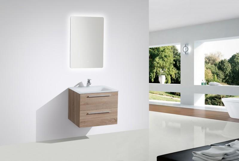 Badmöbel-Set M600 Eiche geweißt mit Glaswaschbecken - Spiegel optional – Bild 1