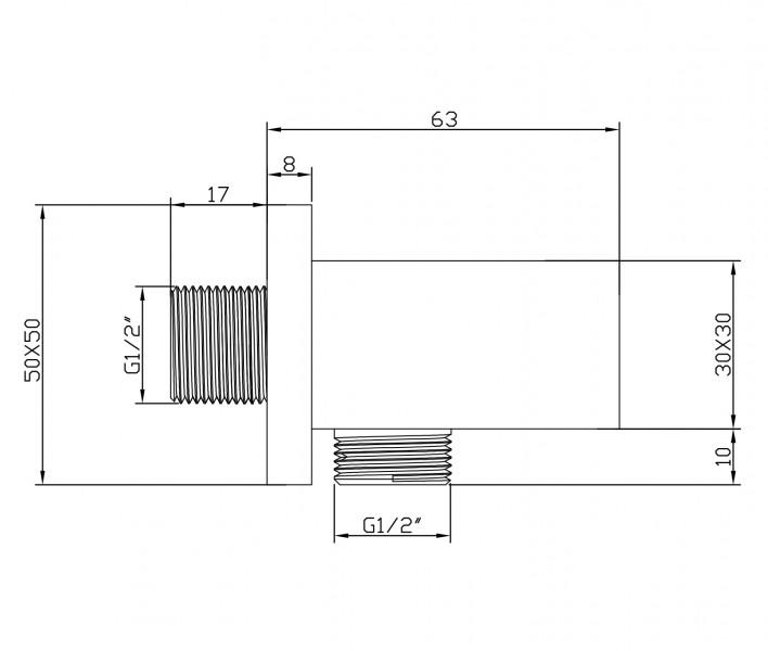 Hand shower holder and supply BA002 - squared design – Bild 2