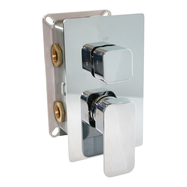 Hochwertige Unterputz-Duscharmatur UP13-02 mit 3 Wege-Umsteller - quadratische Griffe