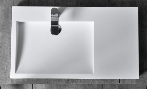 TWG11 countertop washbasin wall-mounted washbasin made of pure acrylic - 81x45,5x10cm – Bild 3