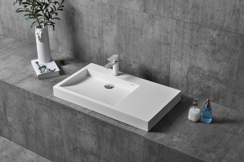 TWG11 countertop washbasin wall-mounted washbasin made of pure acrylic - 81x45,5x10cm – Bild 1