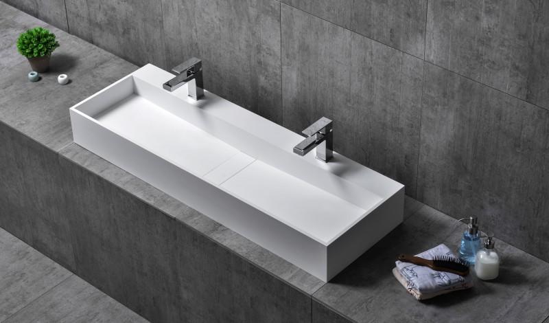 Wandwaschbecken Aufsatzwaschbecken TWG07 aus Mineralguss Pure Acrylic - 120 x 40 x 15 cm