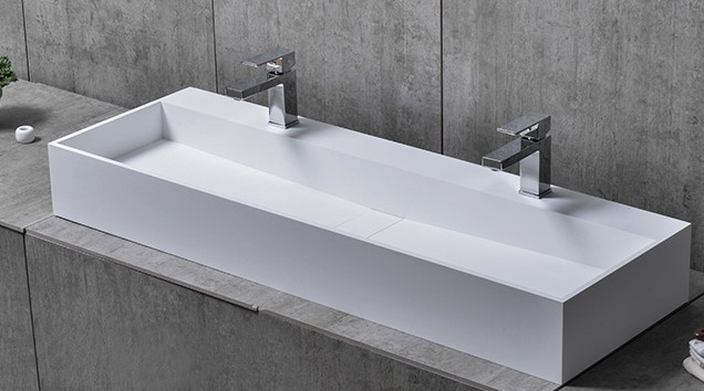 TWG07 countertop washbasin wall-mounted washbasin made of pure acrylic - 120x40x15cm – Bild 2
